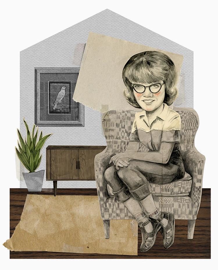 Retrato de Brigitte en el salón de su casa